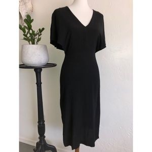 Lush black midi cocktail dress